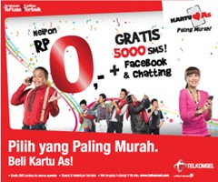 Kartu AS, gratis 5000 sms, facebook dan chatting