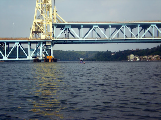Hannah passing under the Houghton lift bridge