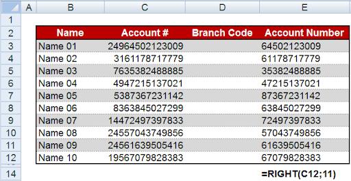 فصل كود فرع البنك عن رقم الحساب 2