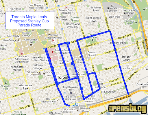 Toronto Maple Leafs Stanley Cup Parade Route