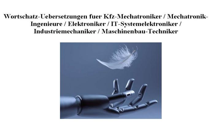 englisch deutsch Wortschatz Woerterbuch kfz mechatroniker