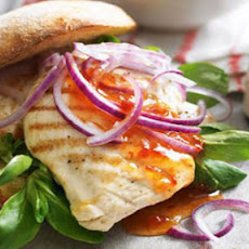 BBQ chicken burgers with sweet potato wedges