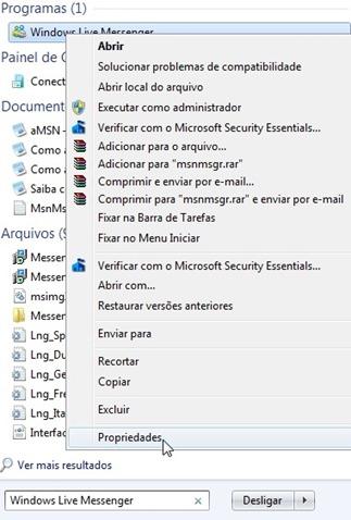 Iniciar > Procure por Windows Live Messenger clique com o botão direito e de OK