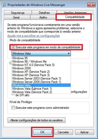 Selecione: Aba compatiblilidade > Executar este programa em modo de compatibilidade > Windows Vista > OK!