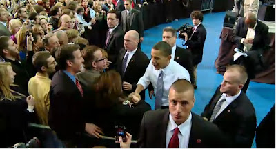 President Obama greets audience members yesterday after his speech at the University of Iowa (Courtesy of the White House)