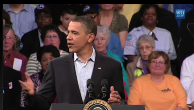 President Obama speaks at Indian Hills Community College in Ottumwa (Courtesy of the White House)