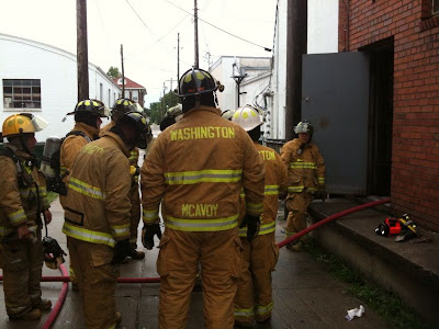 Washington Volunteer Firefighters Investigate Yesterday's Call At The Frontier Restaurant in Washington.