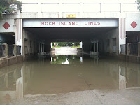 The underpass on North Second Avenue in Washington had five to six feet of standing water after heavy rainfall Monday (8/9/10) night.  This picture was taken as the water receded. (KCII-Chance Dorland)
