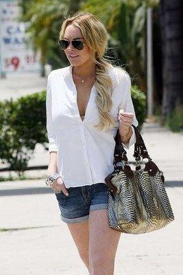 Lindsay Lohan with her Pauric Sweeney Designer Handbag