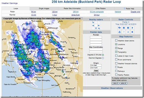 Rain over Adelaide 14th October 2010 7_30pm