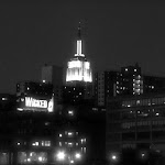 The Empire State Building by night from the Hudson River