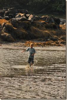 splashing in low tide