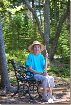 great grammie on bench