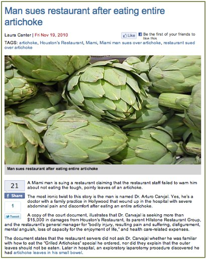 Man sues restaurant after eating entire artichoke - Business News - Food and Drink Digital.jpg