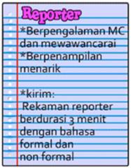 Persyaratan Reporter