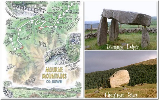 Mourne Mountain Collage Cloughmore Stone, Leganarry Dolmen