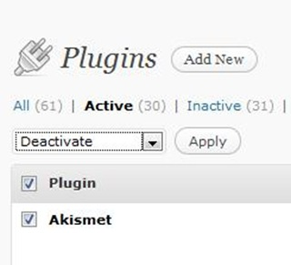deactivate all plug-ins WordPress