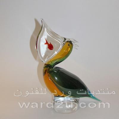 عصافير وطيور ملونة من زجاج شفاف ومورانو