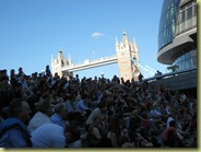 Audience with Tower Bridge behind us - perfect setting