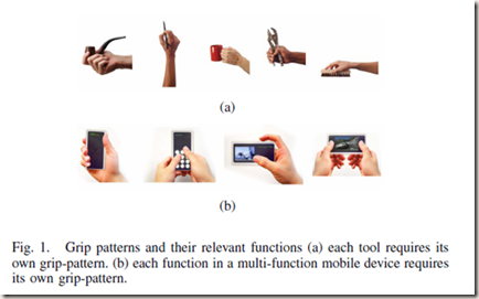 "W. Chang, K. E. Kim, H. Lee, J. K. Cho, B. S. Soh, J. H. Shim, G. Yang, S.-J. Cho, and J. Park, ""Recognition of Grip-Patterns by Using Capacitive Touch Sensors,"" in Industrial Electronics, 2006 IEEE International Symposium on, 2006, pp. 2936-2941."