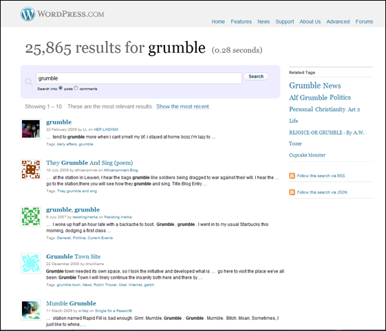 results for Grumble