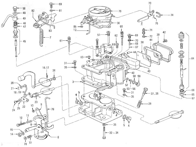 Datsun Pickup 520/521 Parts illustration no. 008-1 Carburetor (Nikki) (J13 Exc. LTU) (To Apr.-'68)