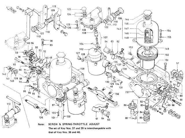 "Datsun Fairlady Parts illustration no. 008B-1 Carburetor 2000 (U20) ""SU"""