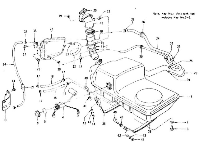 Datsun 240Z/260Z/280Z Parts illustration no. 014A-1 Fuel Tank L26 (From Sep.-'74 To Nov.-'74)