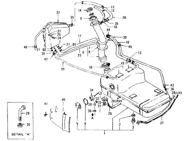 Datsun 240Z/260Z/280Z Parts illustration no. 014-1 Fuel Tank L24, L26 (To Aug.-'74)