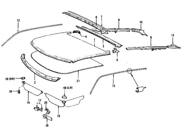 Datsun 240Z/260Z/280Z Parts illustration no. 111-1 Roof Panel, Moulding Sunvisor & Head Lining (To Jul.-'73)