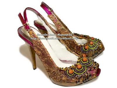 оригинальный декор из бисера на туфлях