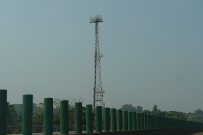 A radio tower? I cannot be sure.