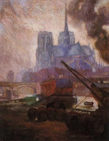 rivera Notre Dame de Paris in the Rain. 1909