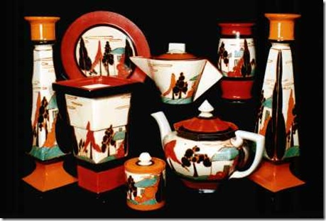 clarice cliff trees and house ceramica