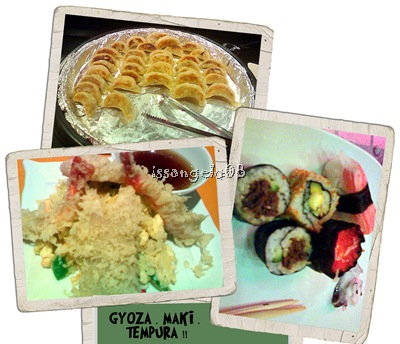 saisaki loot: pork gyoza, assorted tempura and assorted maki! yum!