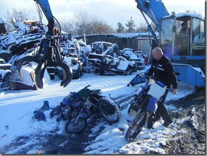 Crushing seized motorcycles