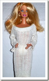 Barbie Doll in White Sock Sweater Dress