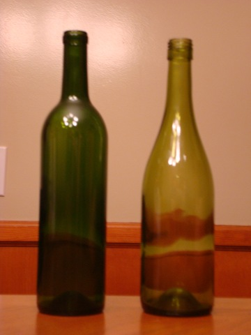 washed wine bottle