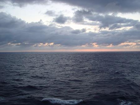 sunset, off coast of miami