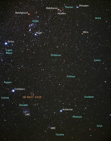 localização da estrela HE 0437-5439