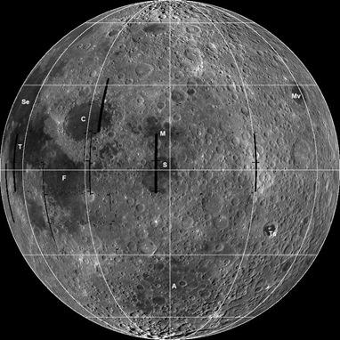 mosaico da superfície lunar