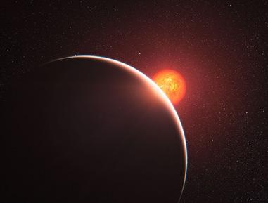 ilustração da luz de estrela na atmosfera de planeta