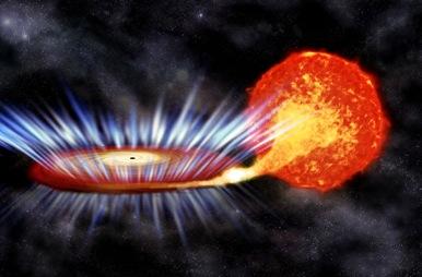 ilustração de um buraco negro absorvendo matéria da estrela