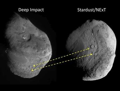 crateras focalizadas pela Deep Impact e Stardust