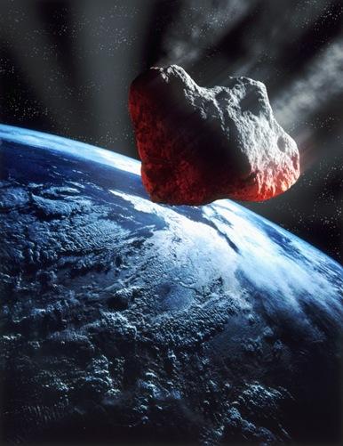 ilustração da queda de um meteoróide