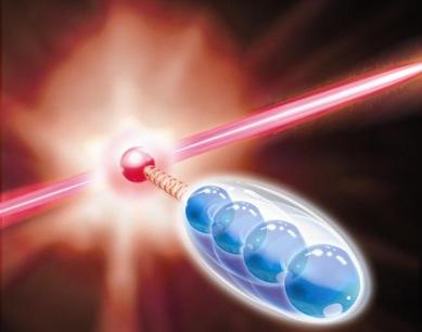 ilustração de um íon interagindo com simulador quântico