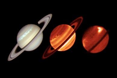imagens em infravermelho térmico de Saturno