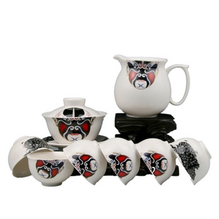 Dehua Peking Opera Masks Chinese tea set: a promised eye-catcher