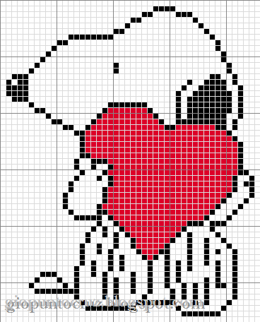 snoopy valenines day cross stitch