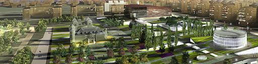 CREAA , panoramica y recreacion virtual del proyecto centro de creacion de las artes de Alcorcon en el parque de los castillos